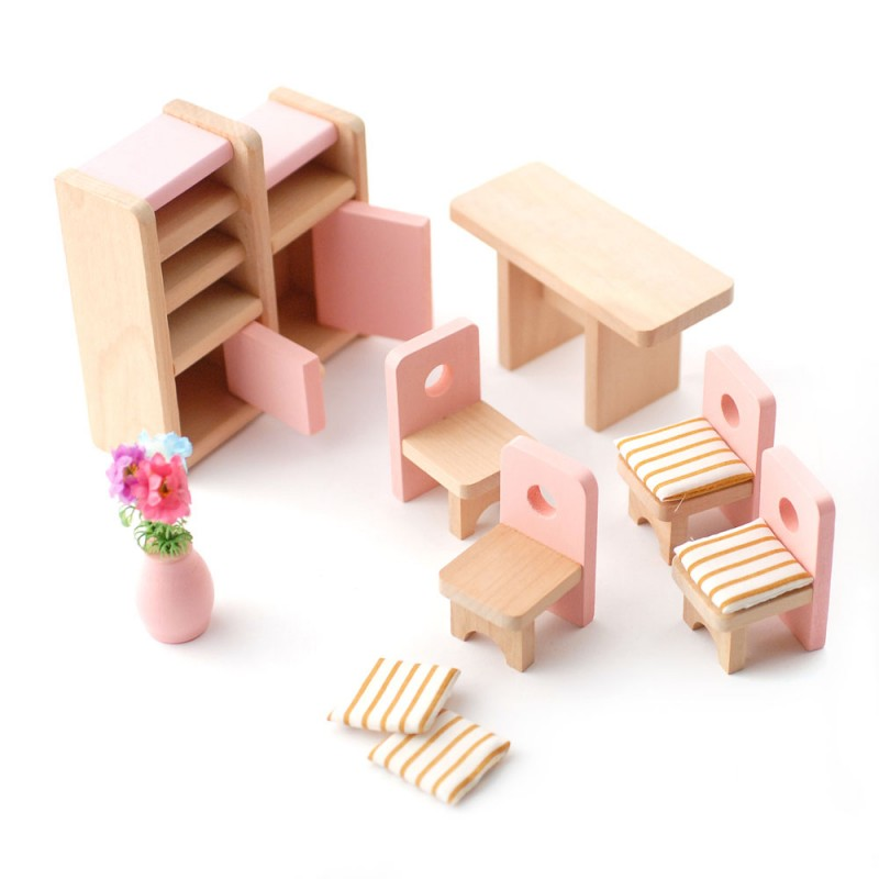 Dolls House Pink Table and Chairs Dining Room Set Miniature 3 Years + Furniture