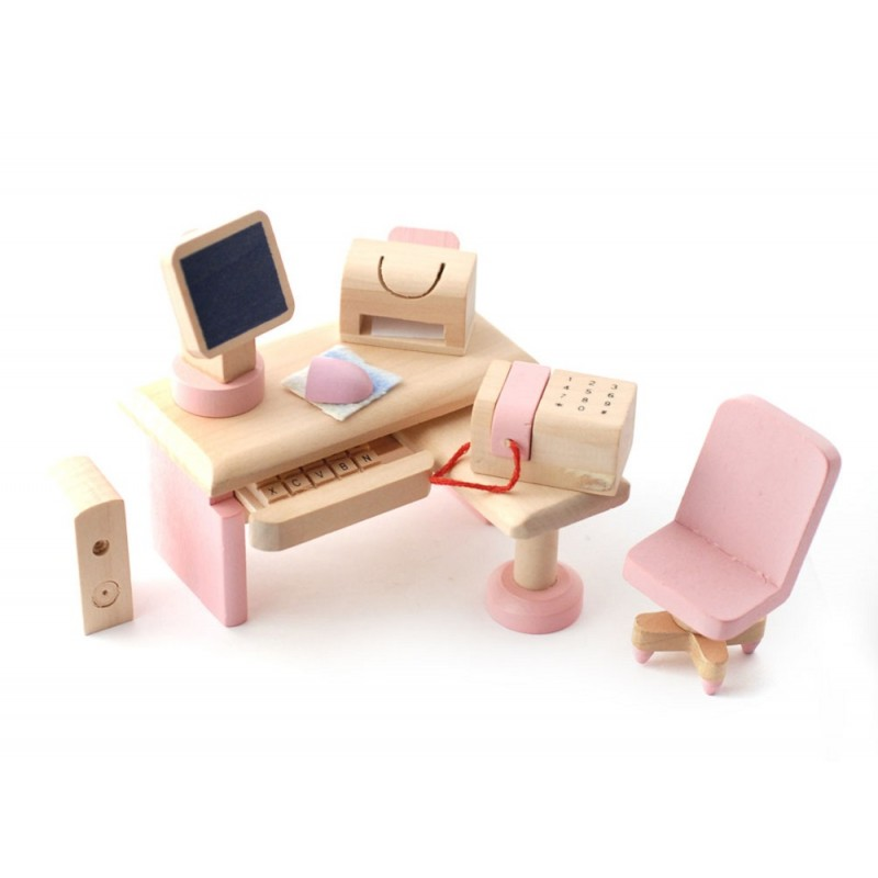 Dolls House Pink Wooden Computer Study Room Set Miniature 3 Years + Furniture