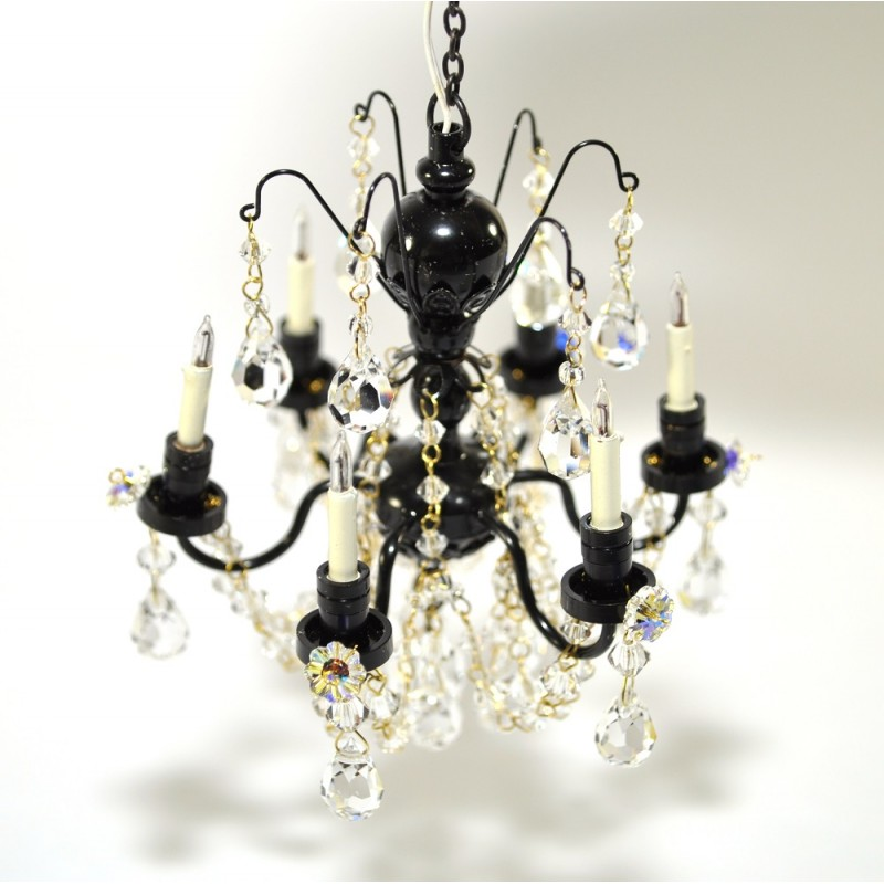 Dolls House Real Crystal Chandelier Black Finish Miniature Light