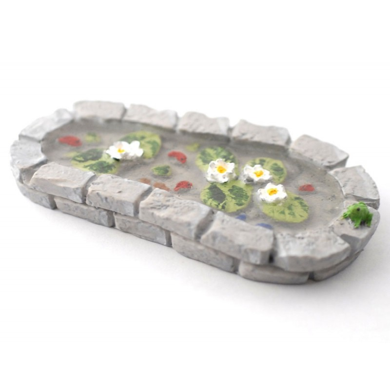 Dolls House Grey Brick Garden Pond with Frog Miniature 1:12 Scale Accessory