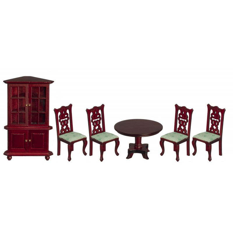Dolls House Victorian Mahogany & Green Dining Room Furniture Set 1:12 Scale 6 Pc