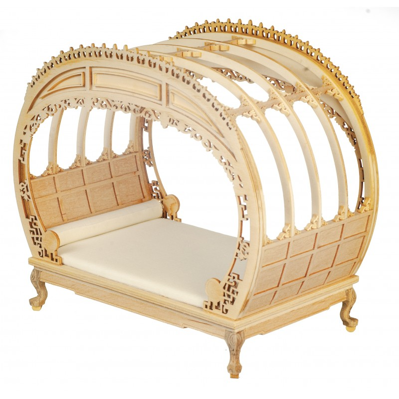 Dolls House Rococo Chippendale Double Bed Bare Wood JBM Bedroom Furniture 1:12