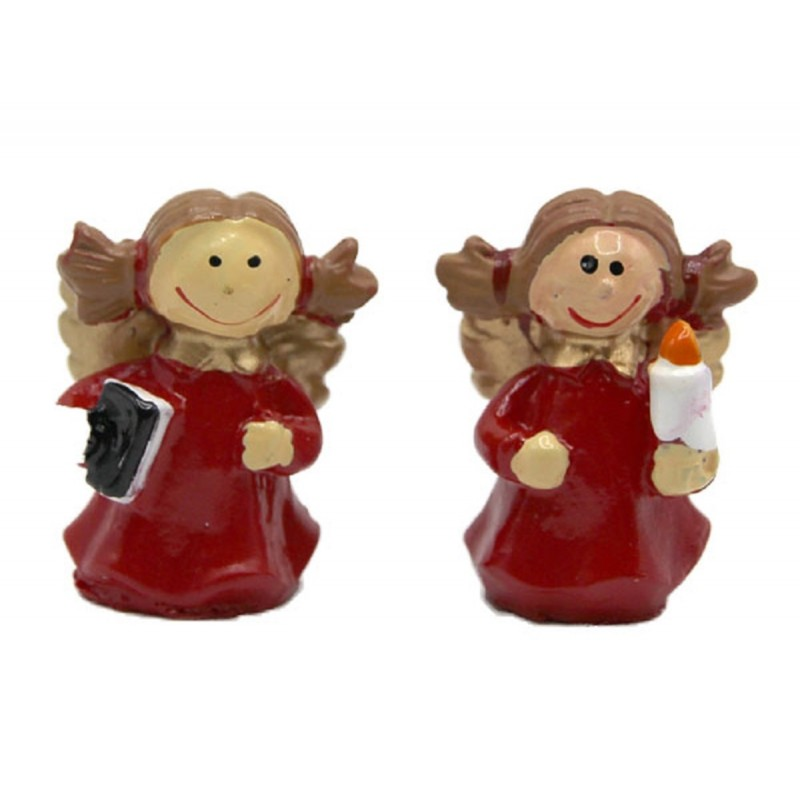Dolls House 2 Angel Carol Singers Christmas Ornament Miniature Xmas Accessory