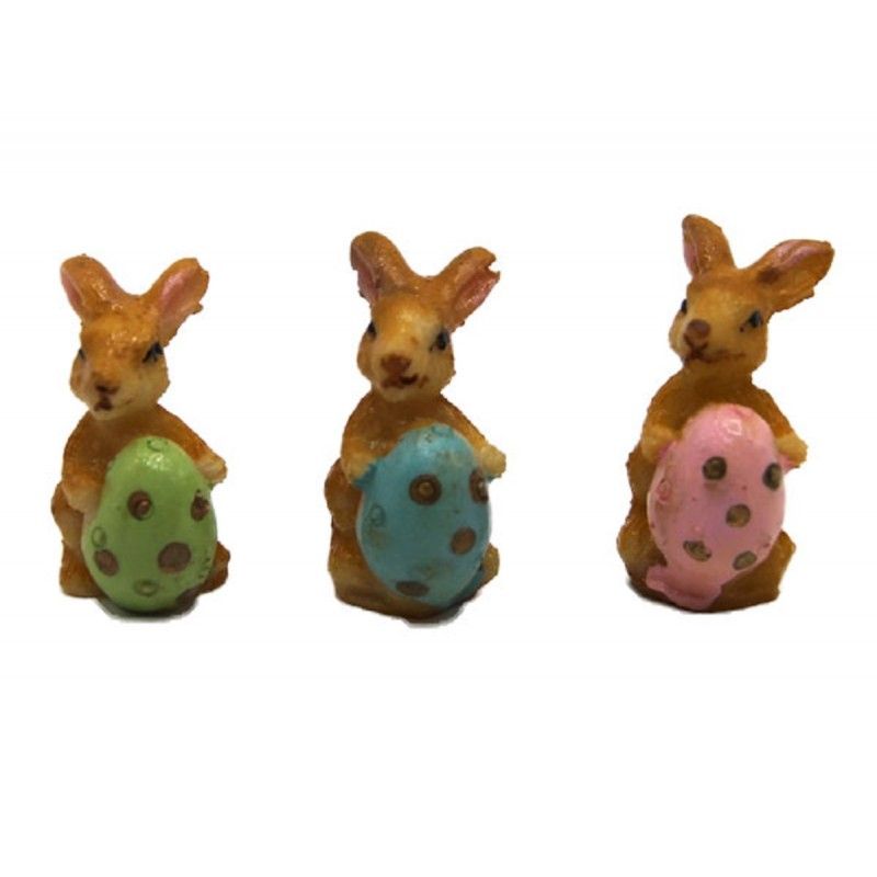 Dolls House 3 Rabbits with Easter Eggs Ornaments Miniature Nursery Accessory