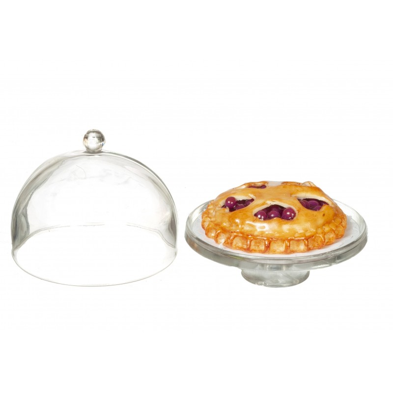 Dolls House Cherry Tart on Cake Stand with Dome Lid Miniature Dining Accessory