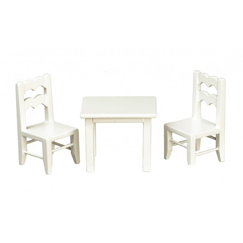 Dolls House Child's White Table & Chairs Miniature School Nursery Furniture 1:12