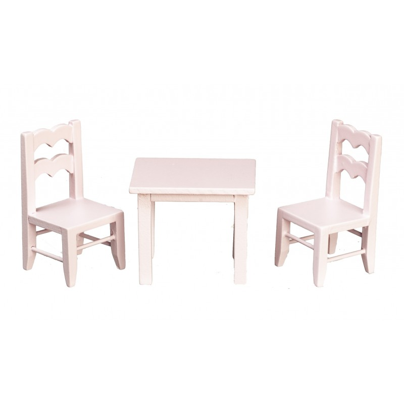 Dolls House Child's Pink Table & Chairs Miniature School Nursery Furniture 1:12
