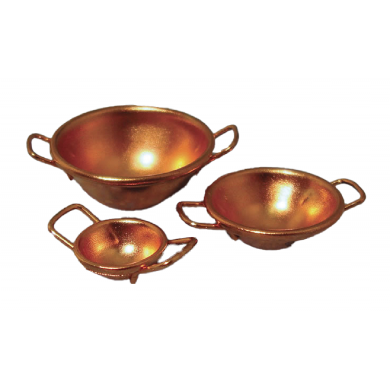 Dolls House Set of 3 Copper 2 Handled Bowls Miniature Kitchen Baking Accessory