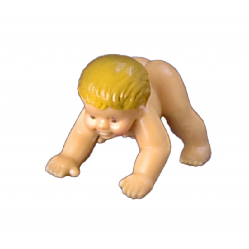 Dolls House Rubber Baby Girl Crawling on Hands & Feet Miniature People Doll 1:12