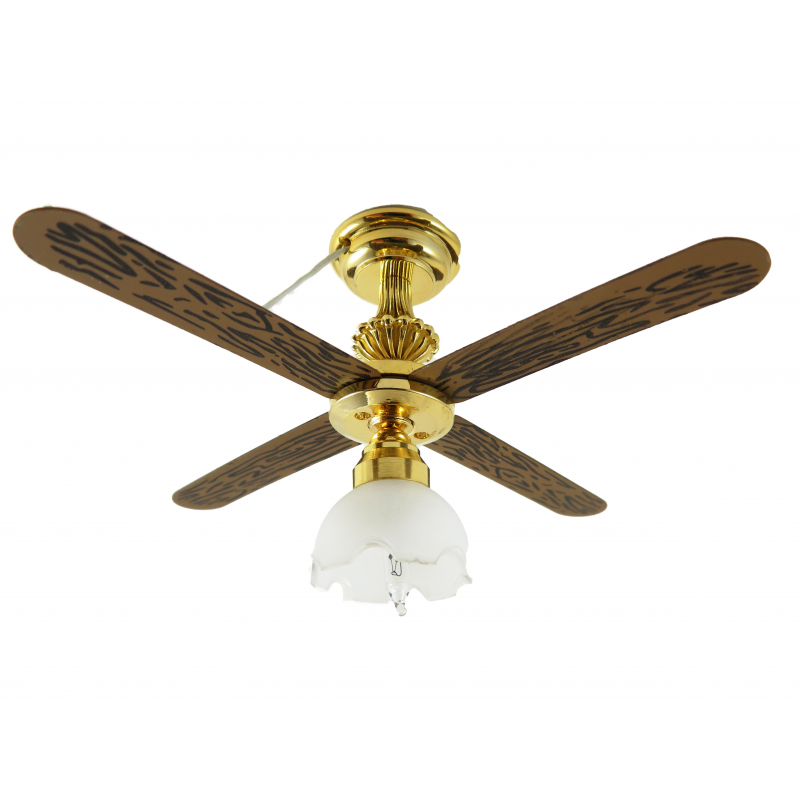 Dolls House Ceiling Fan Light with Tulip Shade Miniature 1:12 Electric Lighting