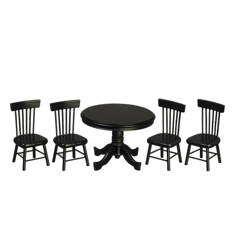 Dolls House Black Round Table & Chairs Miniature Dining Room Furniture Set