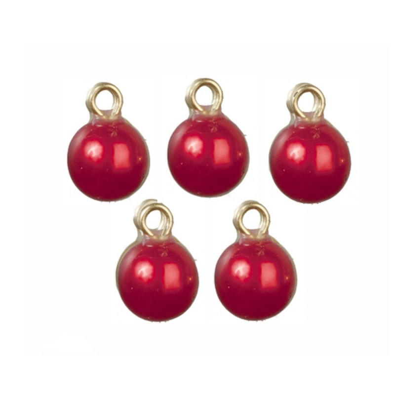 Dolls House 6 Red Baubles Miniature Christmas Tree Ornaments Decorations 1:12