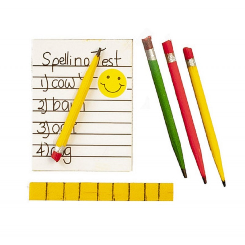 Dolls House Child's Spelling Test Ruler and Pencils 1:12 School Desk Accessory