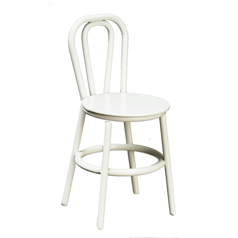 Dolls House White Metal Bistro Chair 1:16 Scale Furniture