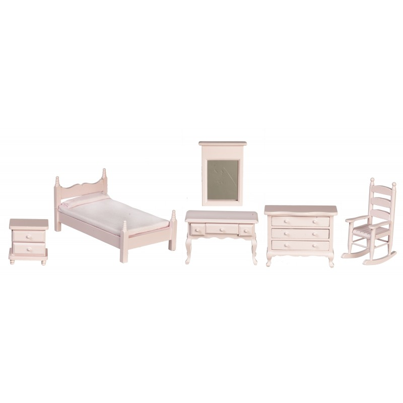 Dolls House Pink Wood Single Bedroom Furniture Set Miniature with Rocking Chair