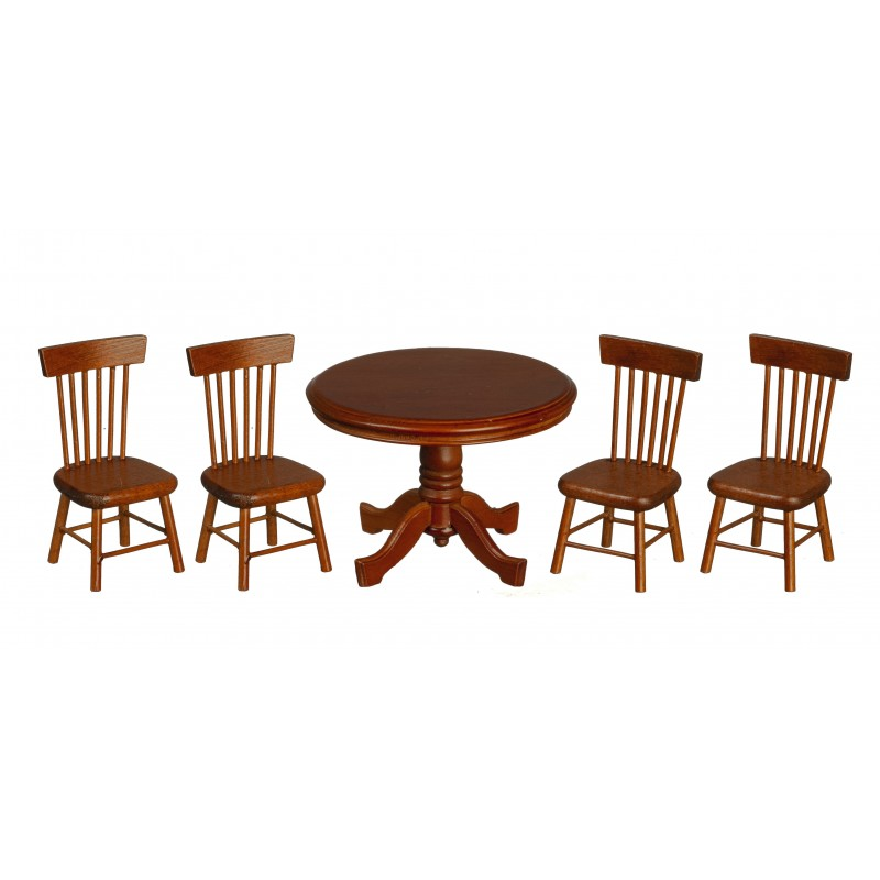 Dolls House Walnut Round Table & Chairs Miniature Dining Room Furniture Set