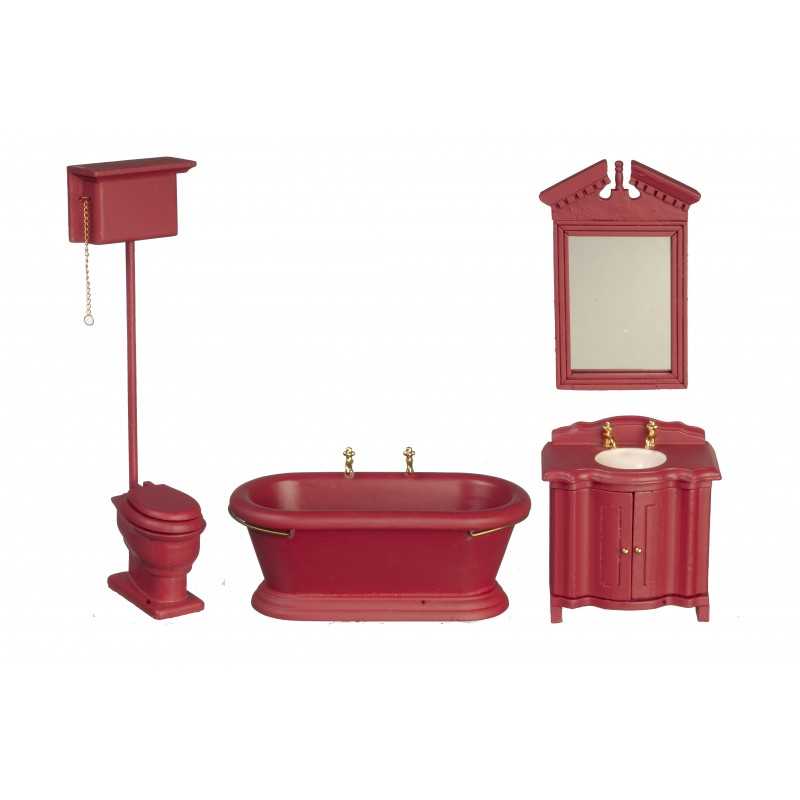 Dolls House Traditional Deep Red Wooden Bathroom Suite Furniture Set Miniature