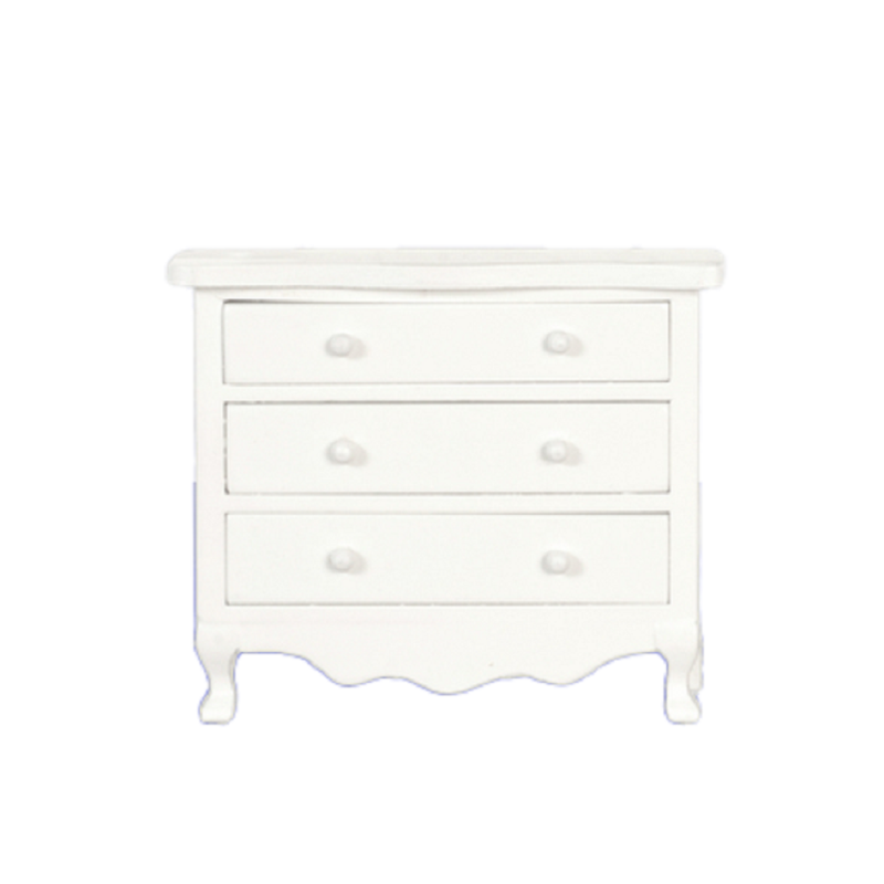 Dolls House White Chest of Drawers on Legs Miniature Wooden Bedroom Furniture