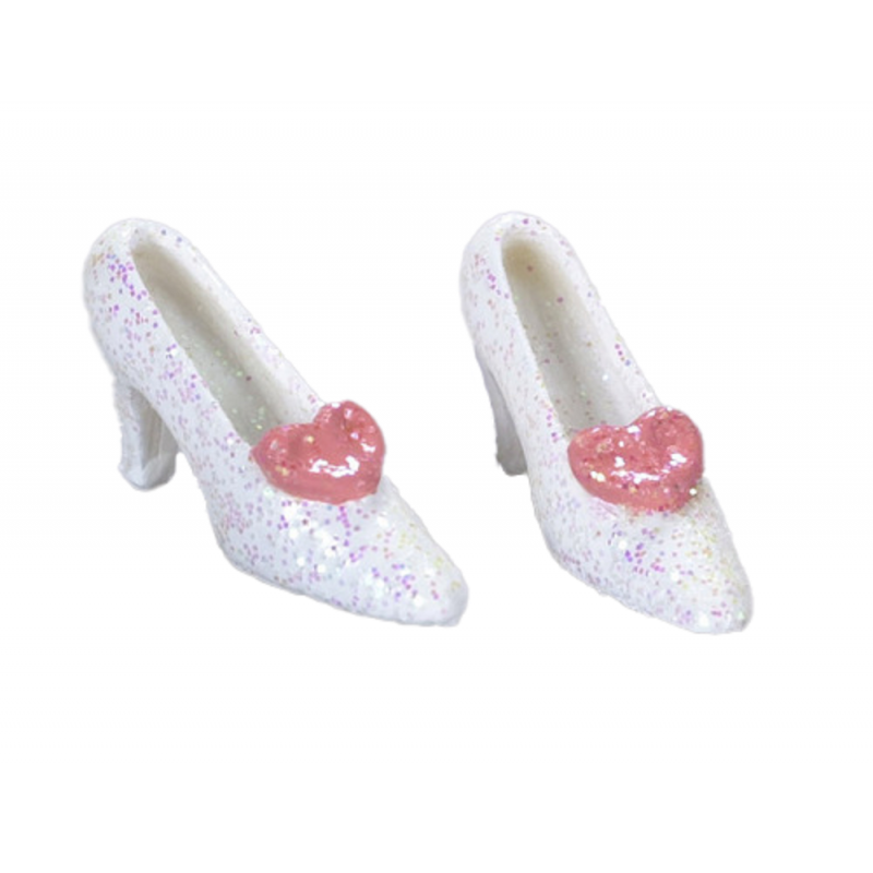 Dolls House White and Pink Glitter Shoes Miniature Bedroom Clothing Accessory