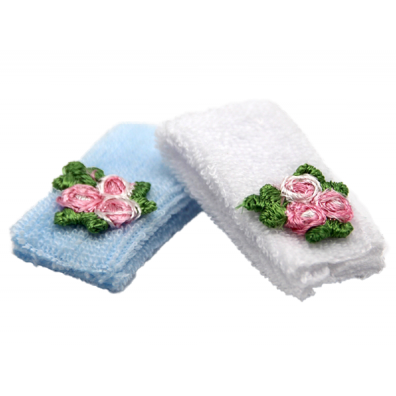 Dolls House 2 White & Blue Hand Towels with Flowers Miniature Bathroom Accessory