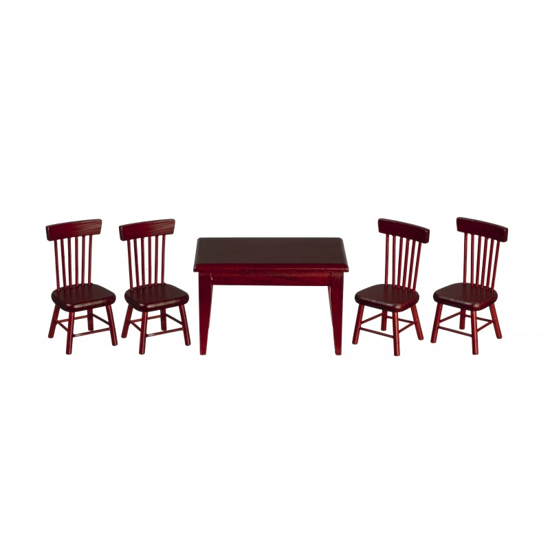 Dolls House Mahogany Table & 4 Chairs Miniature Kitchen Dining Room Furniture