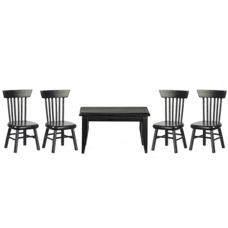 Dolls House Black Table & 4 Chairs Miniature Kitchen Dining Room Furniture 1:12
