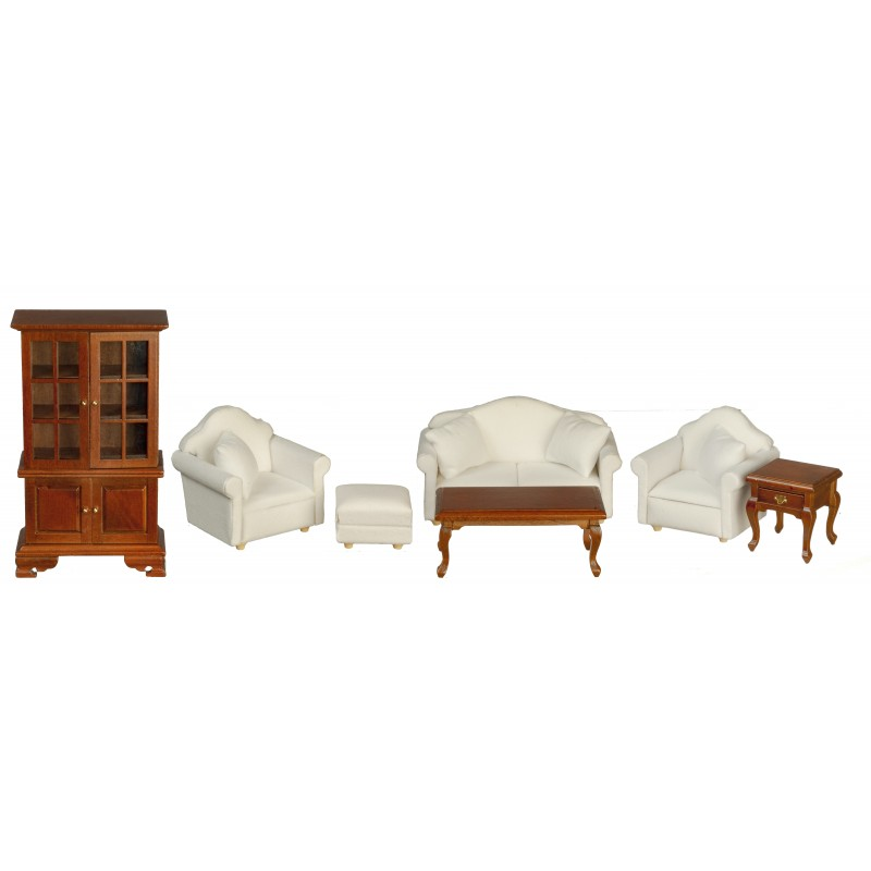 Dolls House Walnut & White Modern Living Room Furniture Set 7 Pieces 1:12 Scale
