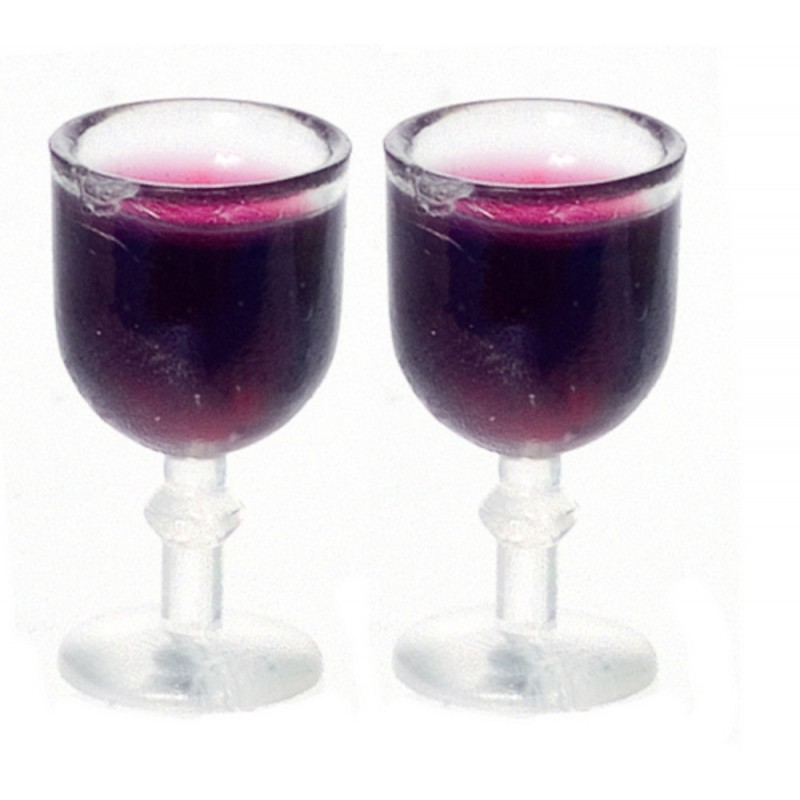 Dolls House 2 Glasses of Red Wine Miniature Dining Room Pub Bar Accessory 1:12