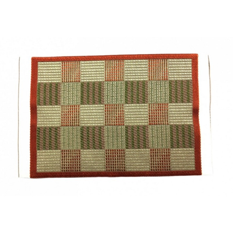 Dolls House Red and Beige Check Rug Mat Miniature Home Decor Accessory 1:12
