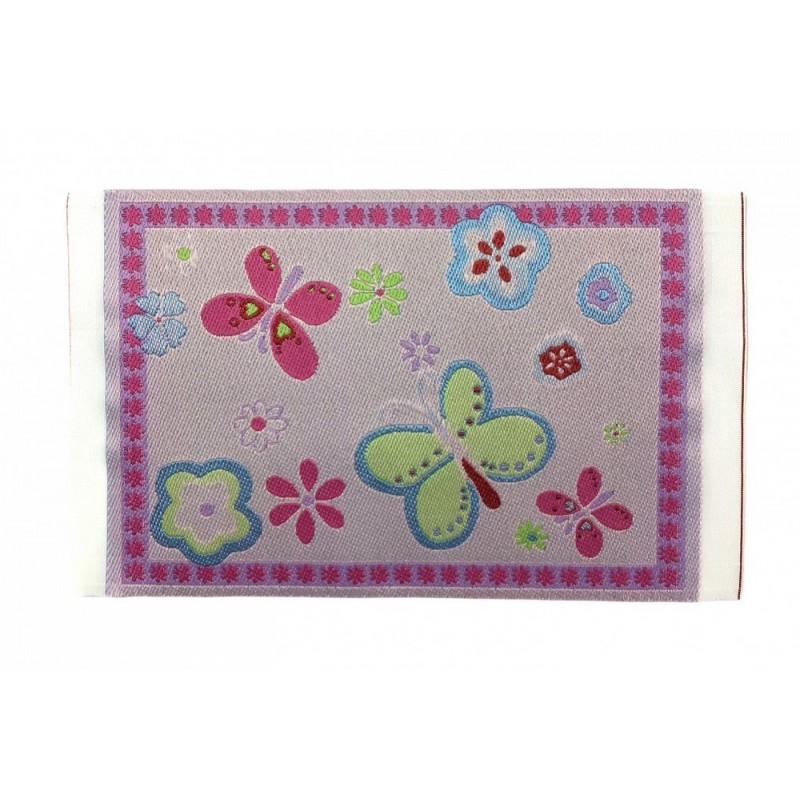 Dolls House Pink Butterfly Rug Mat Miniature Nursery Child's Room Accessory 1:12
