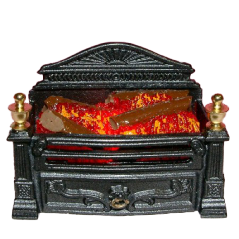 Dolls House Victorian Glowing Log Fire Grate Miniature Fireplace Accessory 12V