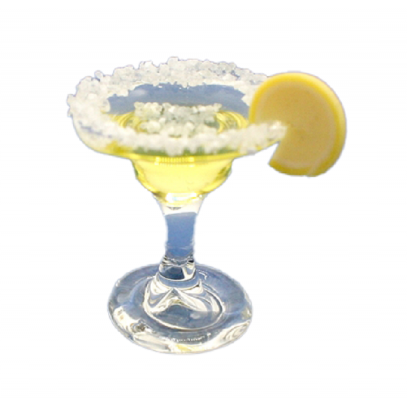 Dolls House Margarita Cocktail with Slice of Lemon Miniature Drink Bar Accessory