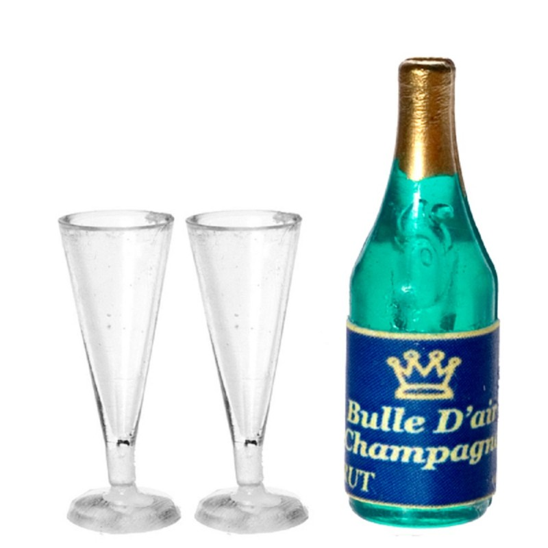 Dolls House Champagne Bottle & 2 Flutes Miniature Bar Pub Dining Room Accessory