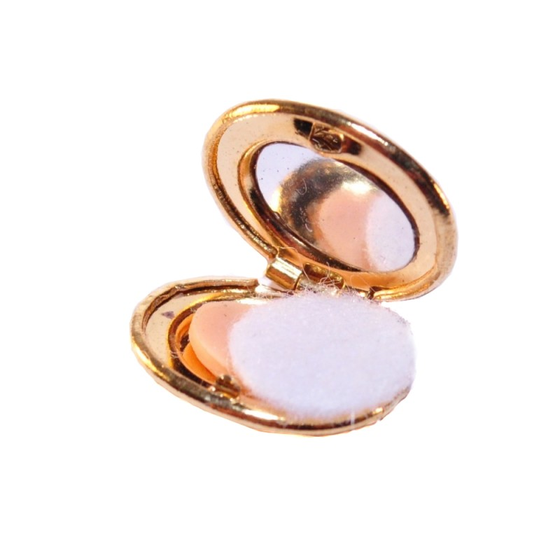 Dolls House Gold Makeup Compact Miniature Bedroom Dressing Table Accessory 1:12