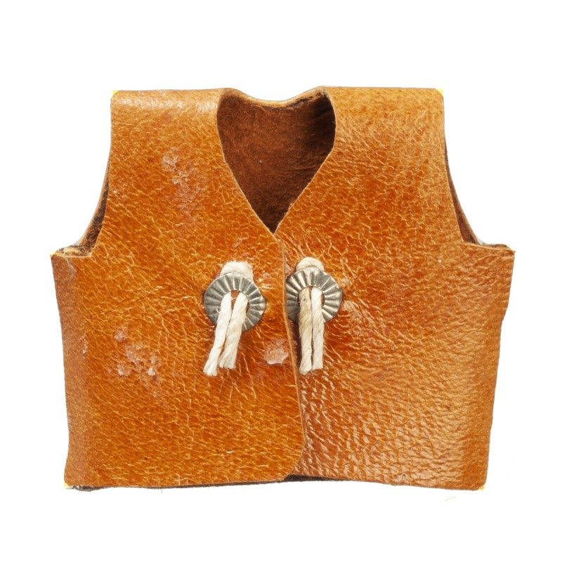 Dolls House Brown Leather Cowboy Vest Miniature Western Ranch Accessory 1:12