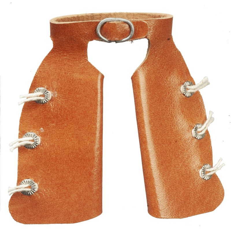 Dolls House Brown Leather Cowboy Chaps Miniature Western Ranch Accessory 1:12