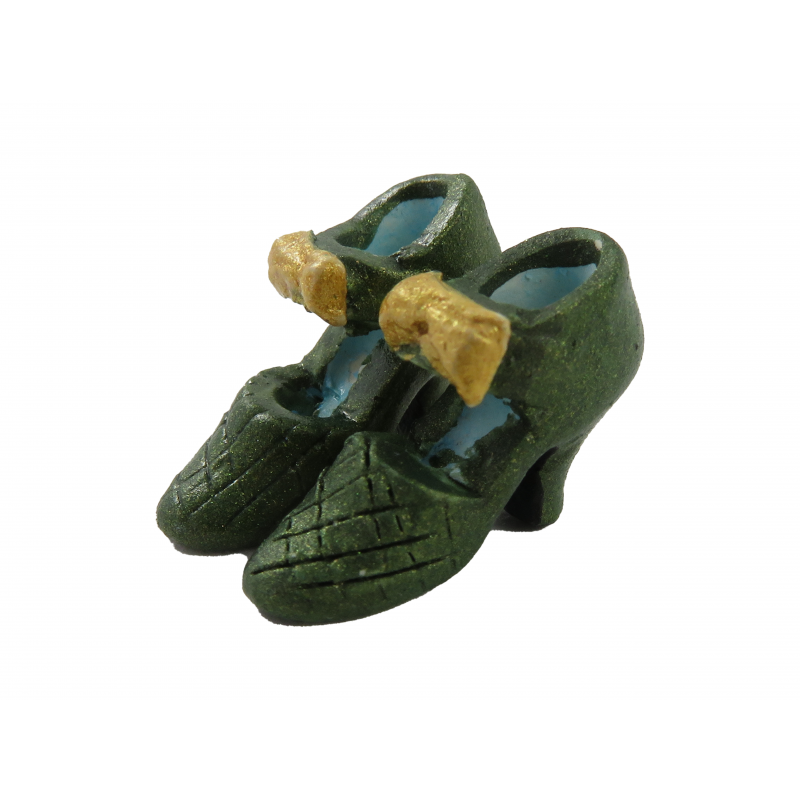 Dolls House Green Bow Ladies Evening Shoes Miniature Shop Bedroom Accessory