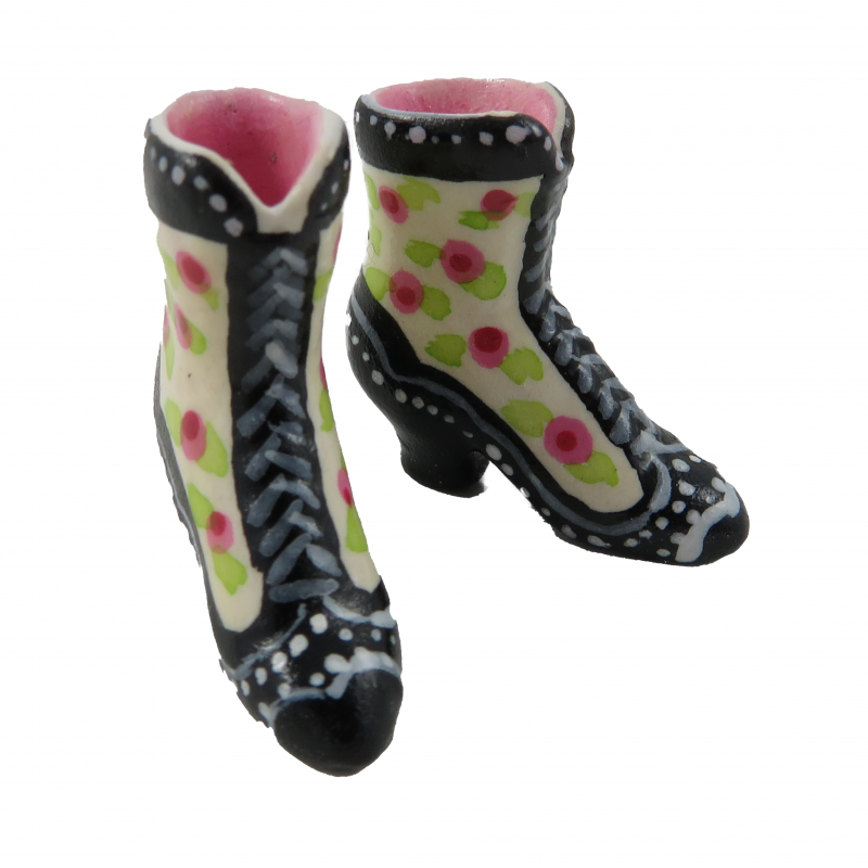 Dolls House Black Pink Victorian Boots Ladies Shoes Miniature Bedroom Accessory