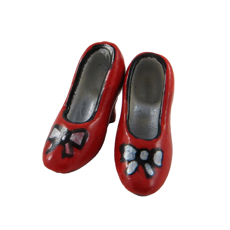 Dolls House Red Bow Court Shoes Ladies Heels Miniature Shop Bedroom Accessory