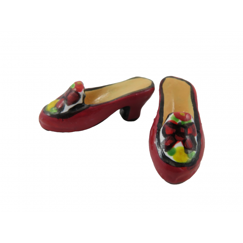 Dolls House Red Bow Painted Shoes Ladies Heels Miniature Shop Bedroom Accessory