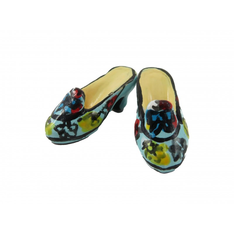 Dolls House Blue Bow Painted Shoes Ladies Heels Miniature Shop Bedroom Accessory