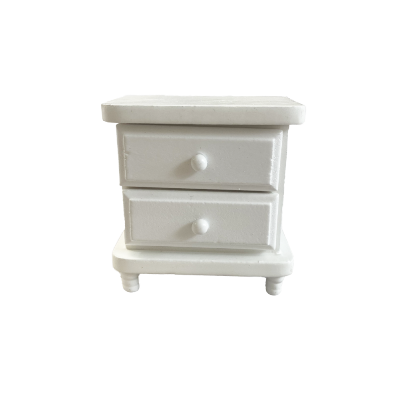 Dolls House White Wood Bedside Chest Nightstand Miniature Bedroom Furniture