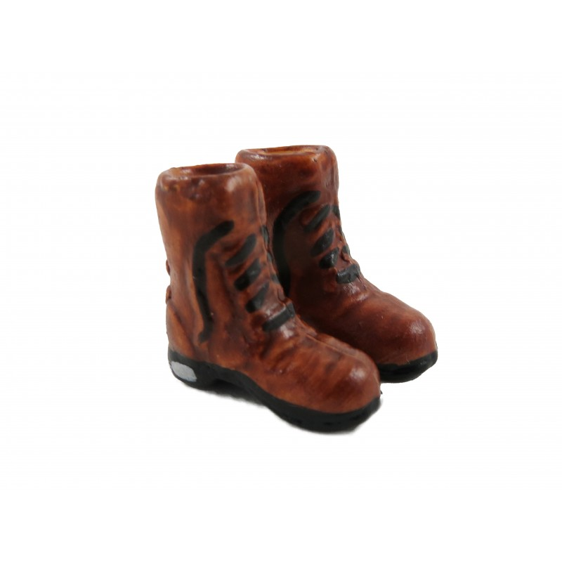 Dolls House Brown Boots Mens Shoes Miniature Shop Hall Bedroom Accessory