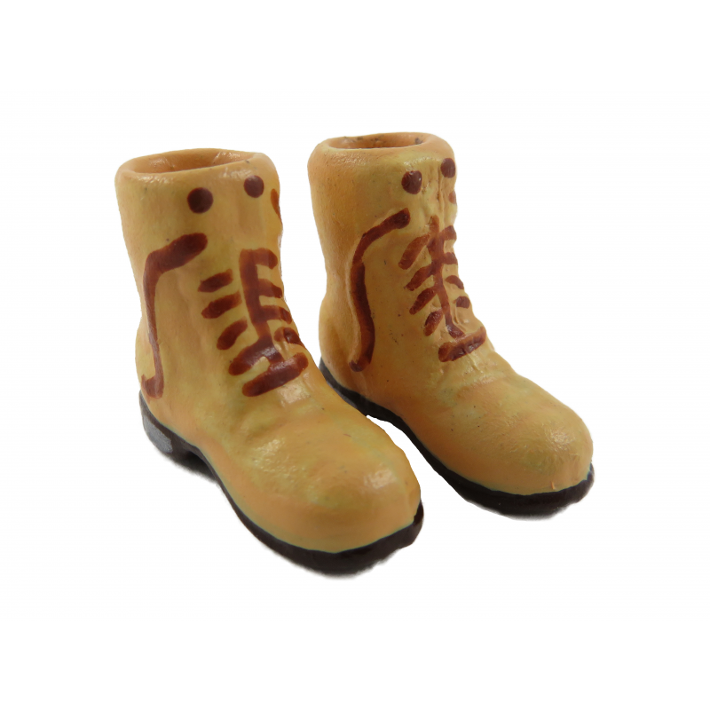 Dolls House Light Brown Boots Mens Shoes Miniature Shop Hall Bedroom Accessory