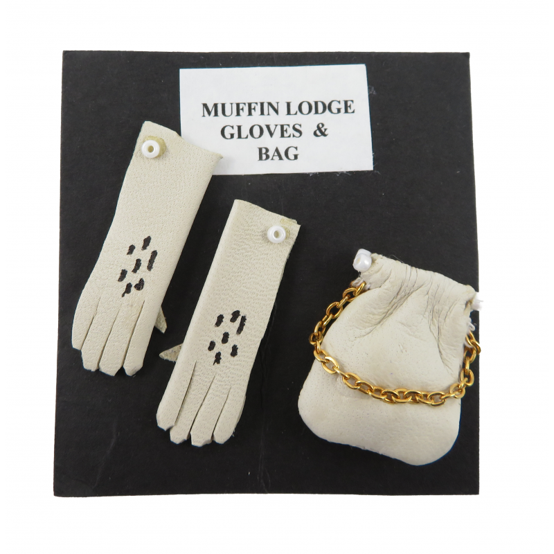 Dolls House Cream Lady's Gloves & Bag Miniature Hand Made Shop Bedroom Accessory