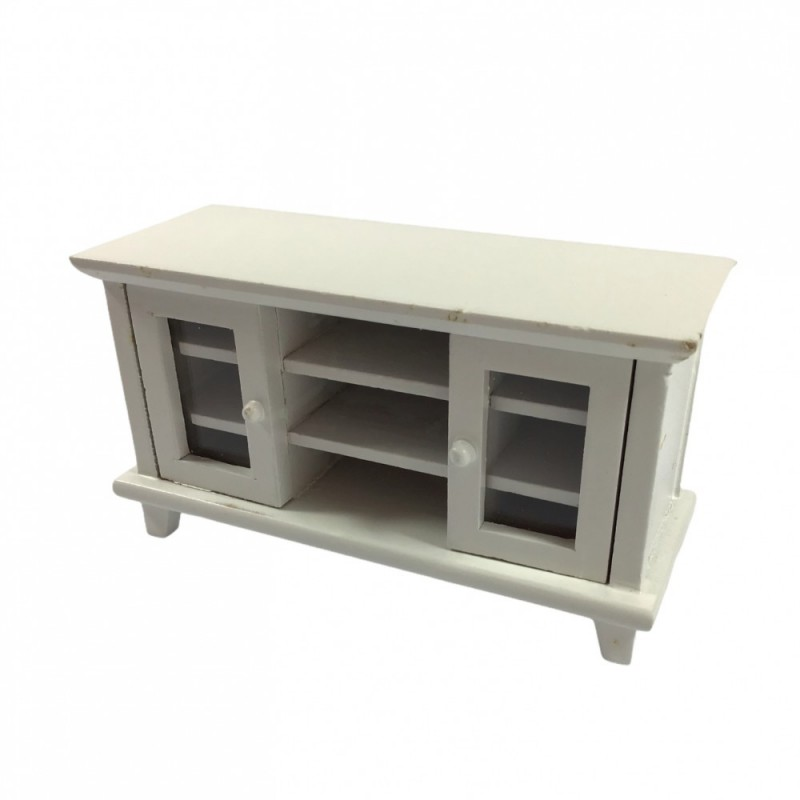 Dolls House Modern White Cabinet TV Stand Miniature Living Room Furniture 1:12