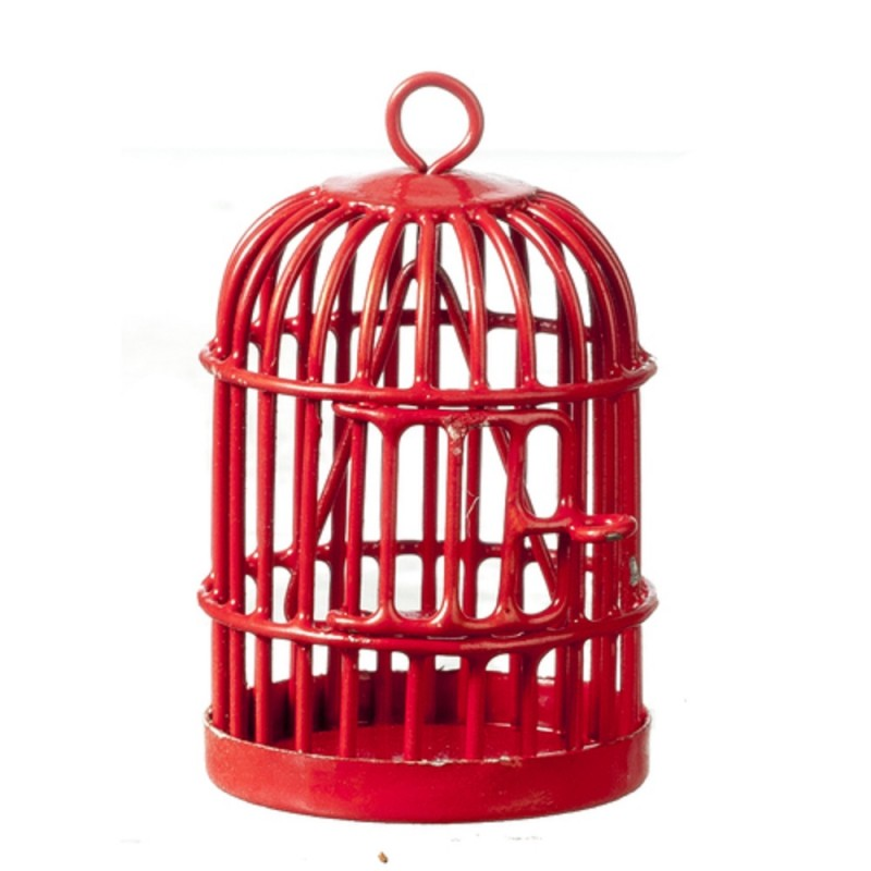 Dolls House Round Red Birdcage Miniature 1:12 Scale Pet Accessory