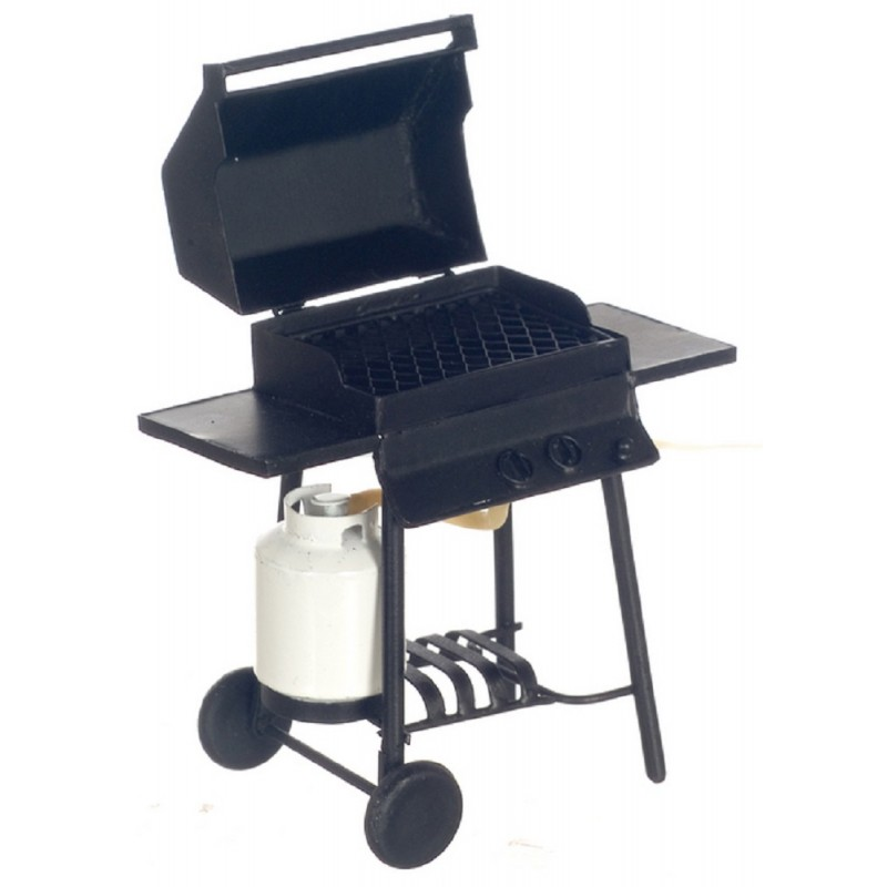 Dolls House Black BBQ Barbeque with Gas Bottle Miniature 1:12 Garden Furniture