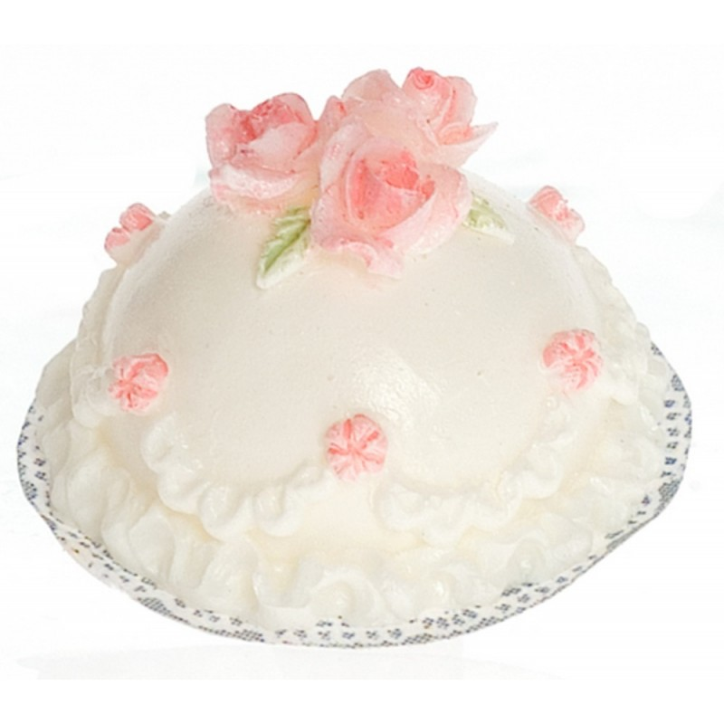 Dolls House White Cake with Pink Roses Miniature Dining Room Cafe Shop Accessory