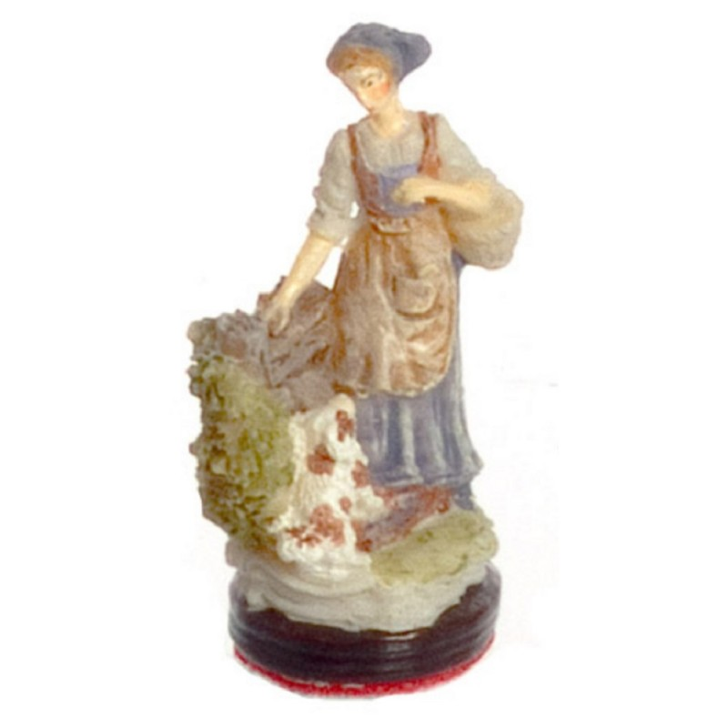 Dolls House Morning Walk Lady and Dog Ornament 1:12 Falcon Miniature Accessory